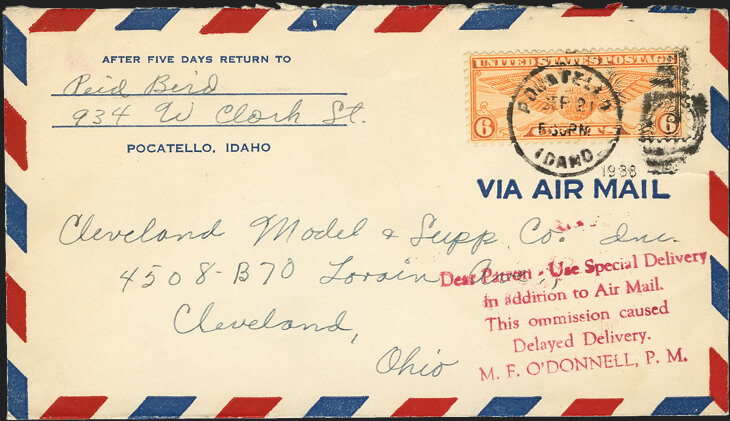 messages on airmail covers promote special delivery service