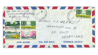 airmail-cover-california-netherlands-beautification-america-stamps