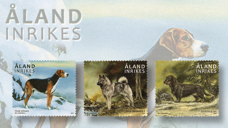 aland-hunting-dogs-stamps-2015-hound-dachshund
