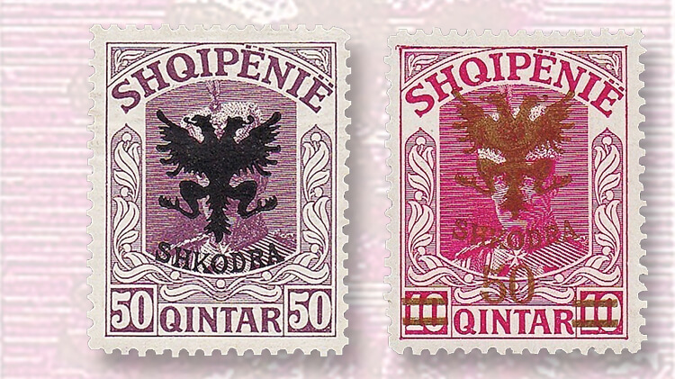 albanian-overprinted-double-headed-eagle-stamp