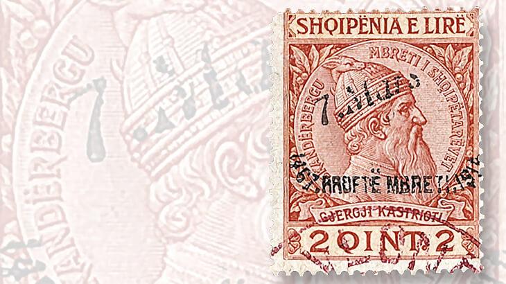 albanian-two-qintar-skanderbeg-stamp