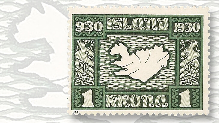 althing-millennium-map-of-iceland-stamp