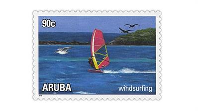 aruba-2018-water-sports-postage-stamps-windsurfing