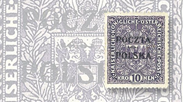 auction-roundup-cherrystone-poczta-polska-overprinted-austria-coat-of-arms-stamp