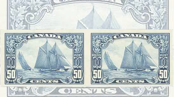 auction-roundup-eastern-auctions-canada-bluenose-stamp-imperforate-pair-man-on-the-mast-plate-flaw