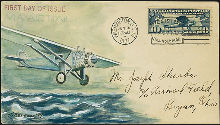 auction-roundup-hr-harmer-spirt-of-st-louis-barbour-handpainted-first-day-cover