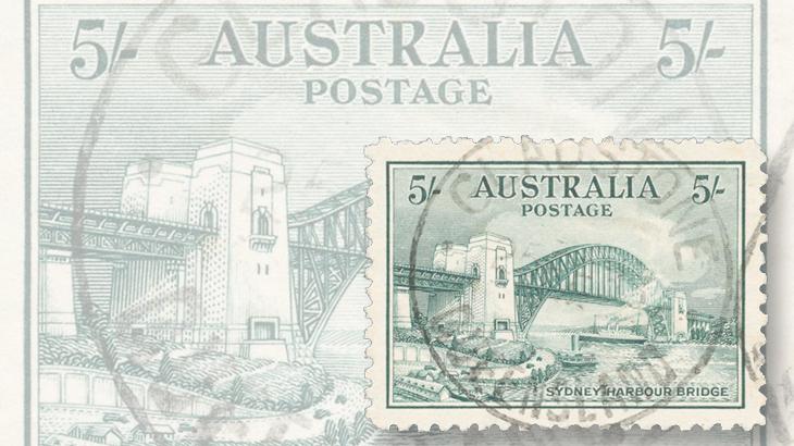 auction-roundup-mossgreen-arthur-gray-collection-sydney-harbor-bridge-stamp-used-gem