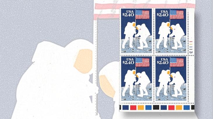 auction-roundup-siegel-1989-moon-landing-plate-block-intaglio-black-omitted-error