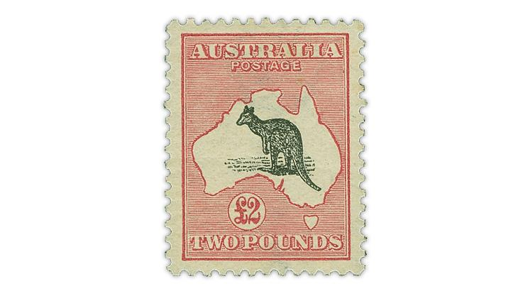australia-1913-deep-rose-black-kangaroo-map-stamp-scott-15