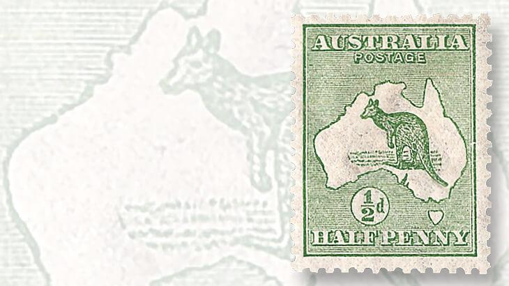 australia-first-kangaroo-and-map-stamp