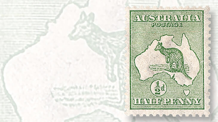 australia-first-kangaroo-and-map-stamp