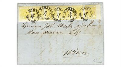 austria-1856-cadmium-yellow-coat-arms-stamp-strip-six-cover