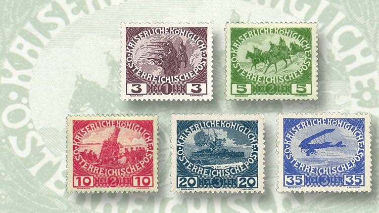 austria-1915-five-semipostal-stamps