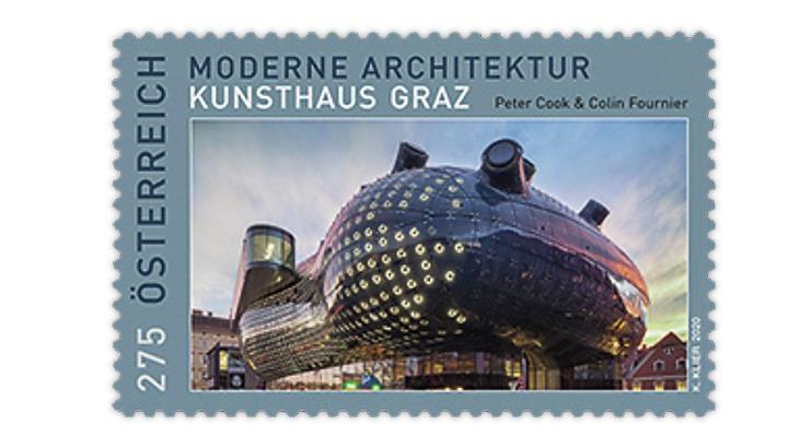 austria-2020-modern-architecture-contemporary-art-museum-stamp