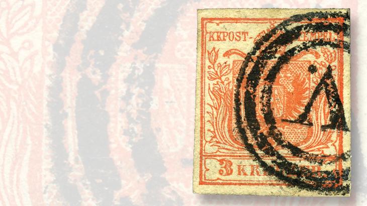 austria-3-kreuzer-stamp-v-center