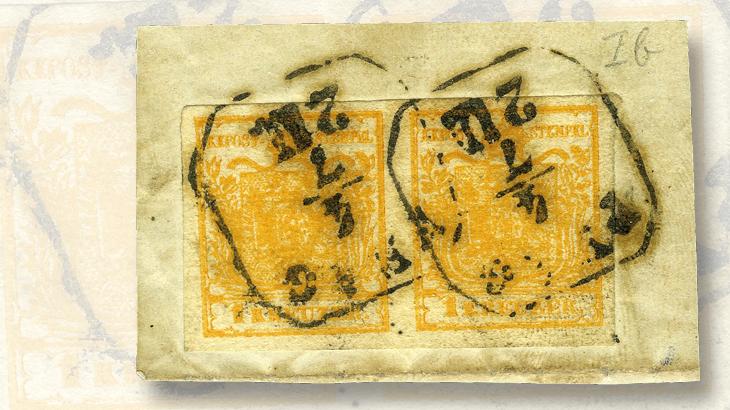 austria-first-issue-1-kreuzer-bright-brown-orange-stamp