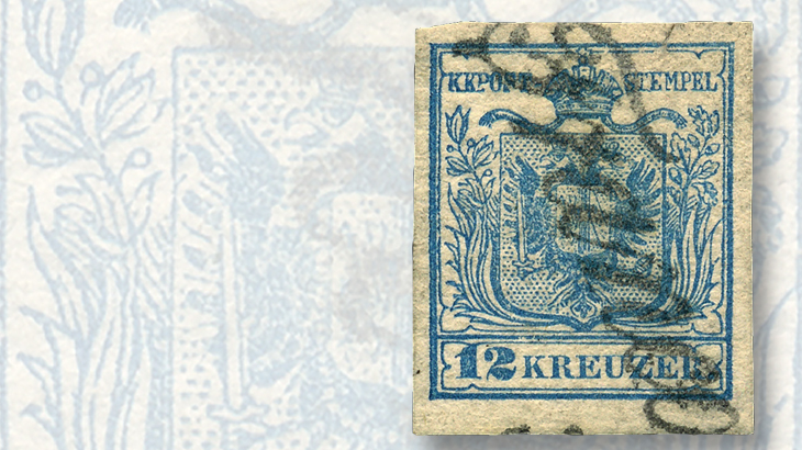 austria-unissued-1850-coat-of-arms-stamp