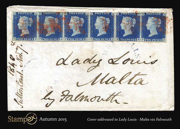 autum-stampex-2015-stamp-show-souvenir-postcard-malta-two-penny-blue