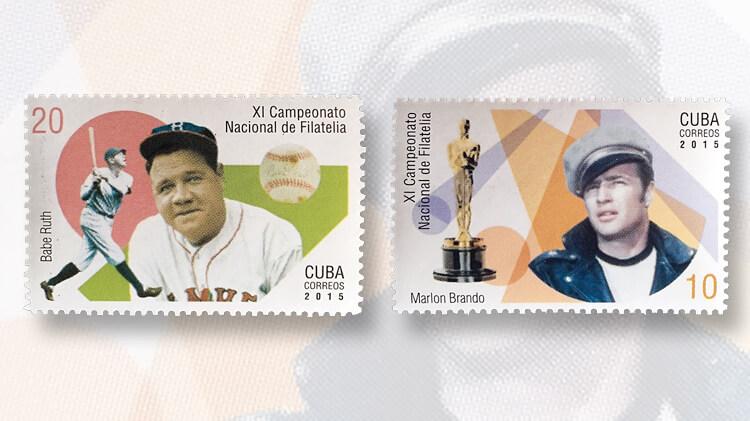 babe-ruth-marlon-brando-cuba-stamps