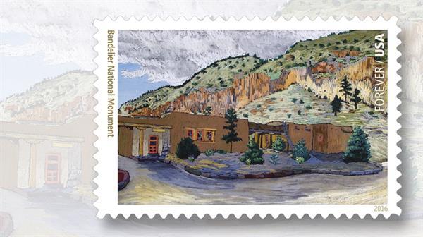 bandelier-monument-national-parks-stamp