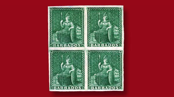 barbados-1852-deep-green-stamps