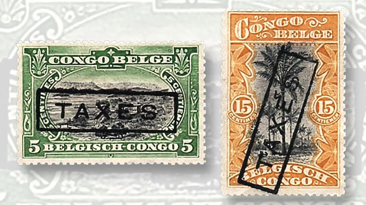 belgian-congo-stamps-taxe-taxes-overprints