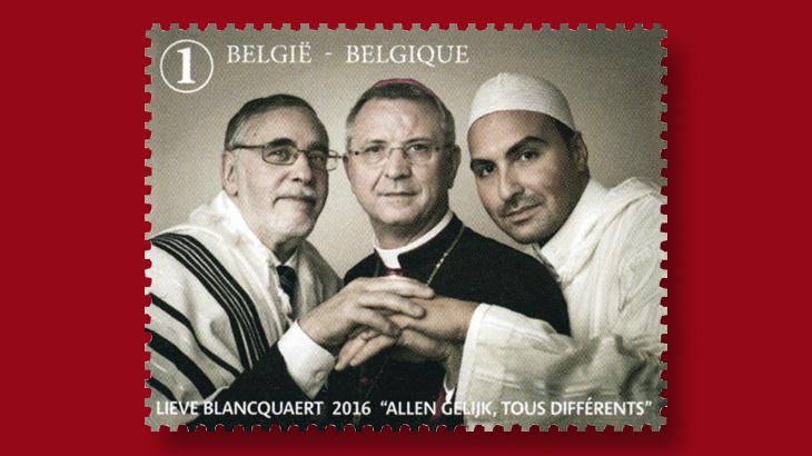 belgian-stamp-photograph-rabbi-iman-bishop