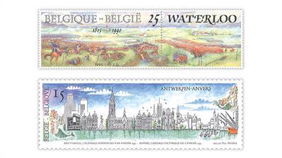 Belgium-battle-waterloo-antwerp-panoramic-stamps