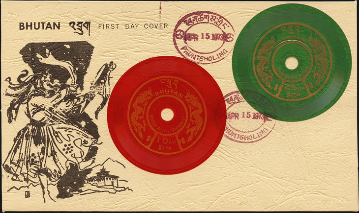 bhutan-phonograph-records-stamps-first-day-cover