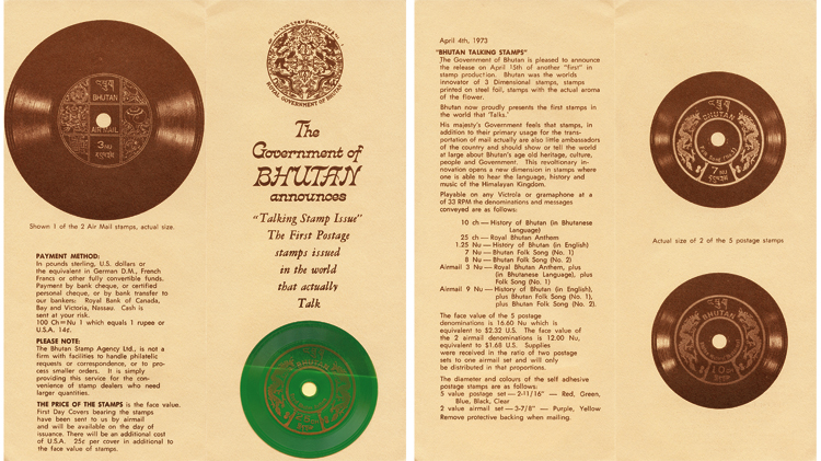 bhutan-phonograph-records-stamps-new-issue-brochure