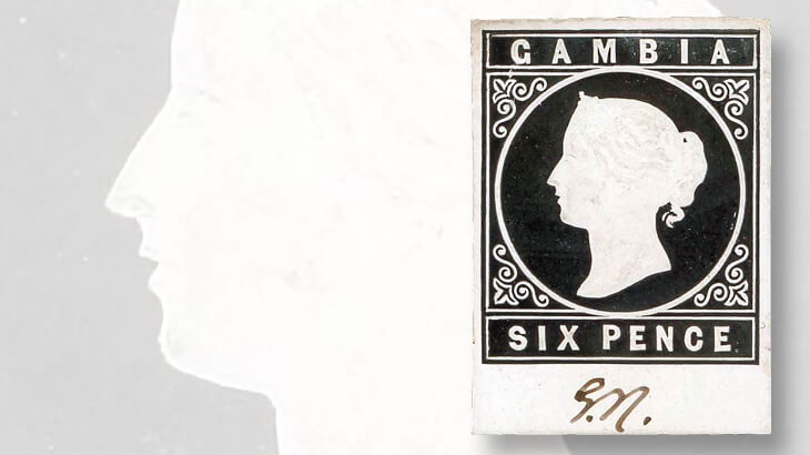 black-and-white-embossed-die-proof-cameo-design-gambia