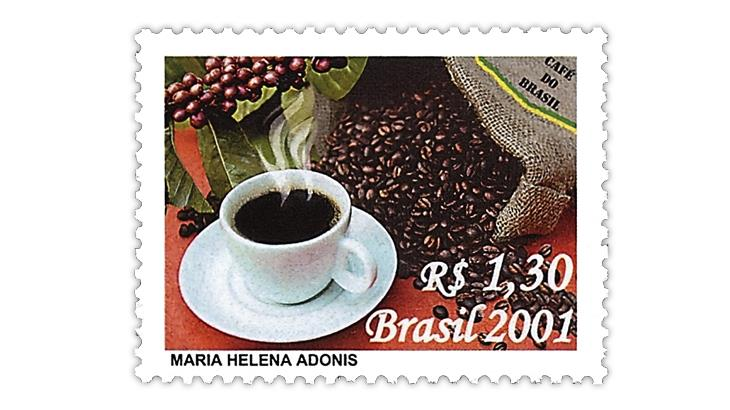 brazil-2001-coffee-beans-hot-coffee-stamp