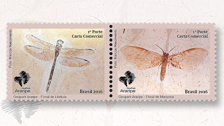 brazil-two-insect-fossils-stamps