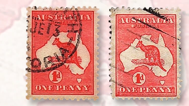bright-colored-carmine-kangaroo-and-map-stamp
