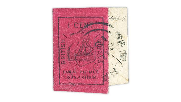 british-guiana-1852-ship-motto-colony-stamp-magenta-paper