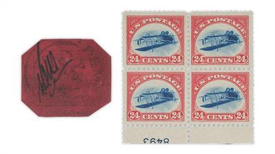 british-guiana-1856-penny-magenta-1918-jenny-invert-plate-block