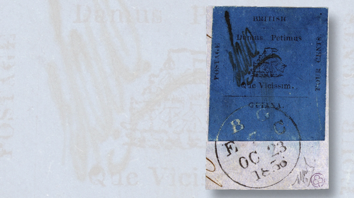 british-guiana-four-cent-black-on-blue-provisional-stamp