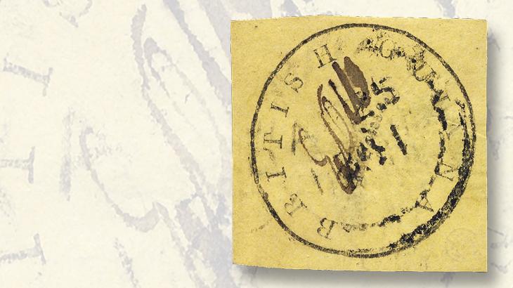 british-guiana-four-cent-black-on-orange-cottonreel-stamp