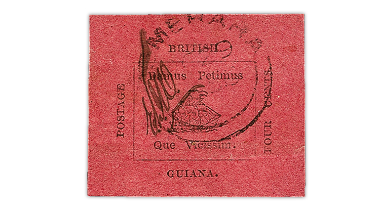 british-guiana-four-cent-black-rose-carmine-stamp