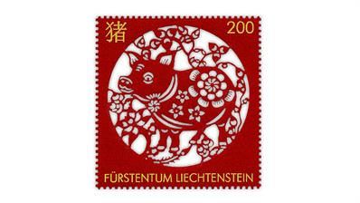 By Topic January 2019 - Liechtenstein Year of the Boar stamp