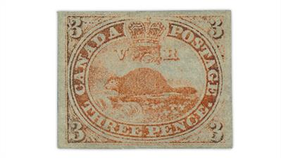 canada-1851-3-penny-beaver-laid-paper-stamp