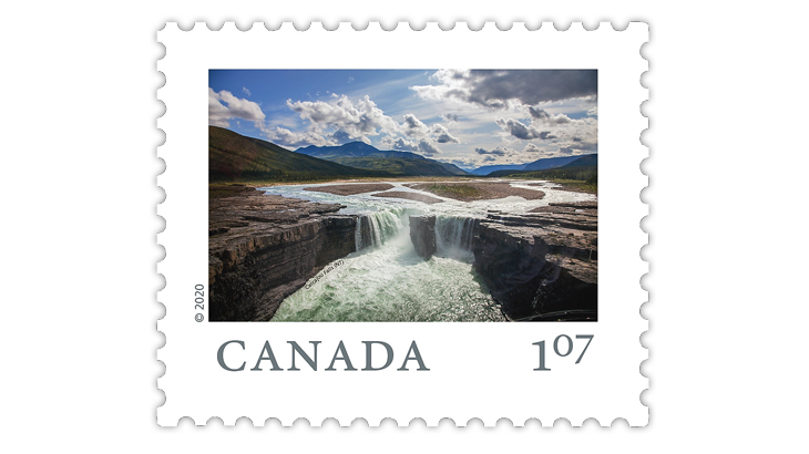 canada-2020-carcajou-falls-northwest-territories-stamp