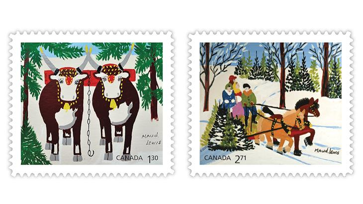 canada-2020-maud-lewis-team-oxen-winter-family-sled-stamps