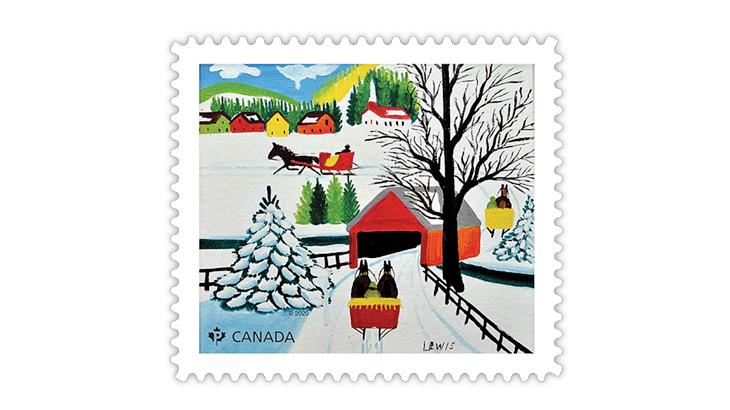 canada-2020-maud-lewis-winter-sleigh-ride-stamp