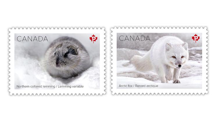 canada-2021-snow-mammals-collared-lemming-arctic-fox-stamps