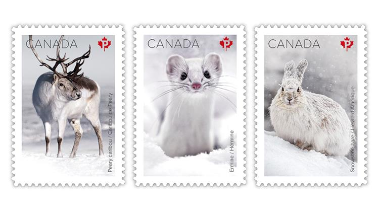 canada-2021-snow-mammals-peary-caribou-ermine-snowshoe-hare-stamps