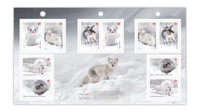 canada-2021-snow-mammals-stamps-booklet-pane