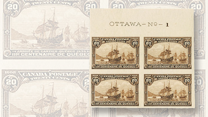 canada-brigham-auction-quebec-tercentenary-imperforate-plate-block-1908
