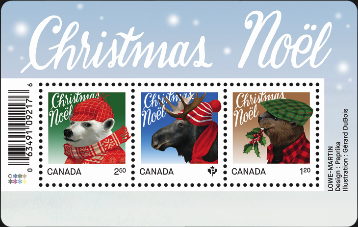 canada-christmas-stamps-moose-beaver-polar-bear-souvenir-sheet-2015