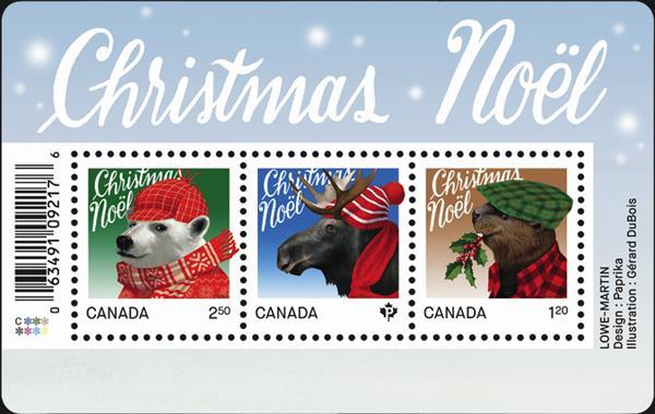 canada-christmas-stamps-moose-beaver-polar-bear-souvenir-sheet-2015